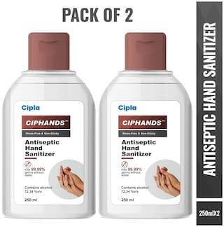 Cipla Ciphands (Antiseptic Hand Sanitizer) 72% Alcohol 250 ml Each (Pack Of 2)