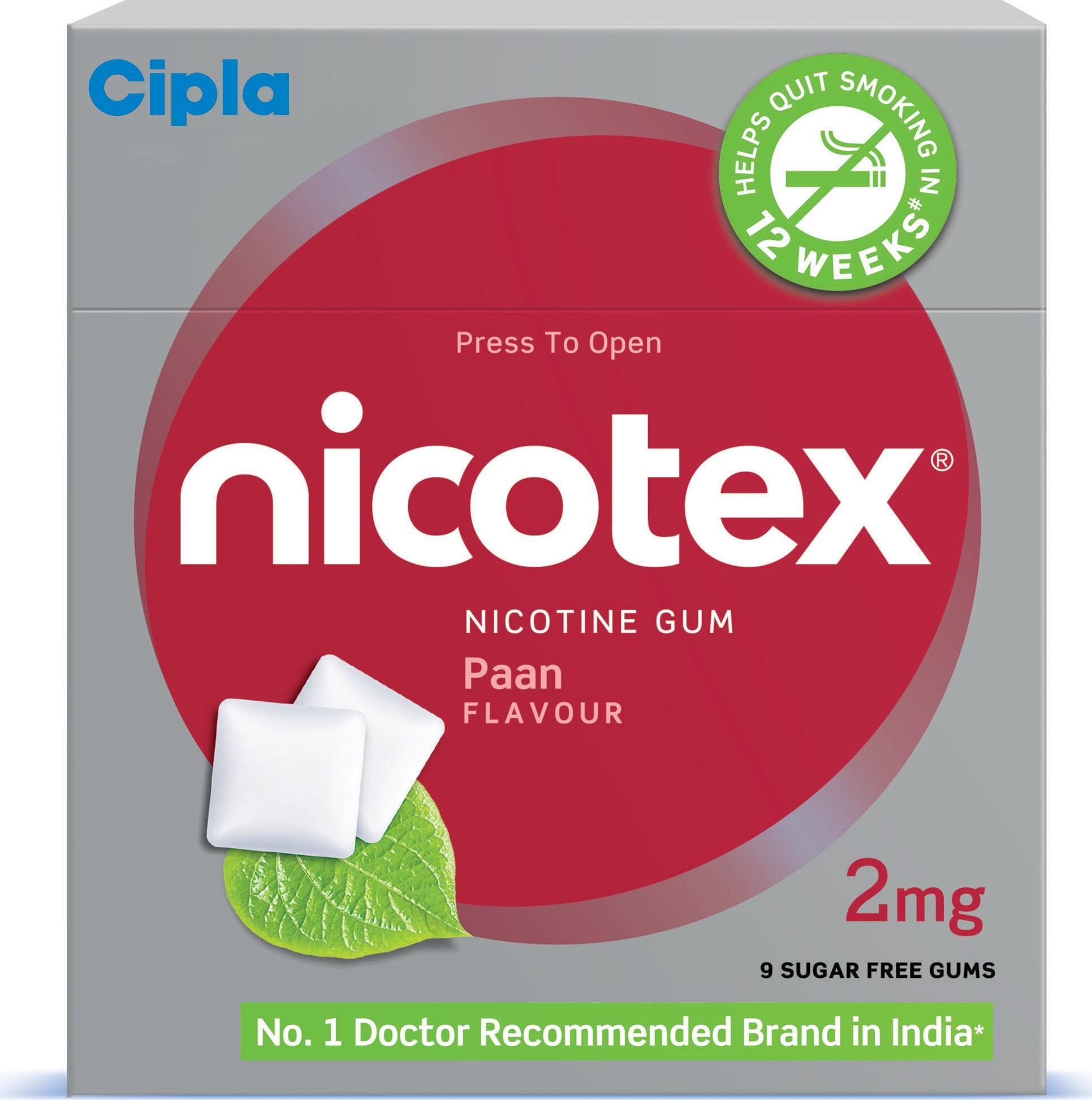 153 Gums Cipla Nicotex Nicotine Gum 4 mg NICOTEX Chewing Gum MINT PLUS..fres