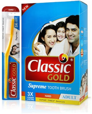 Classic Gold Supreme Hard Toothbrush (Pack of 12)
