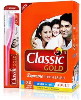 Classic Gold Supreme Medium Toothbrush (Pack of 12)