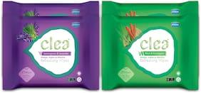 CLEA Refreshing Wipes (Set Of 2 Khus & Eucalyptus 25 pcs Each), (Set of 2 Lemongrass & Lavender 25 pcs Each) Pack of 4