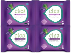 Clea Refreshing Wipes (Lemongrass & Lavender) (25 Wipes per pack) Pack of 4