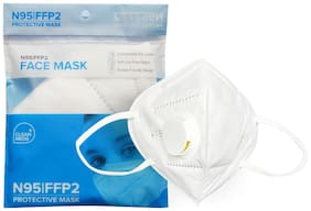 CLEAN MEDS N95 Mask Respirator Pollution Breathable washable and reusable Face Mask Respirator for Men's Women Kids 6 Layers Protection Respirator With Melt Blown (Free Size, Pack of 1)