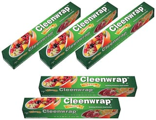 Cleen Wrap Cling Film Plastic Wrap Pack of 5 (30*5=150 m)
