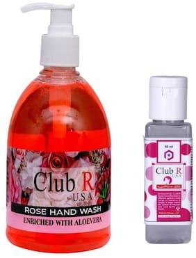 Club R U.S.A Rose Hand Wash 500 ml & Sanitizer 50 ml( Pack of 2)