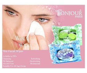 Coat Me Bonjour Paris Refreshing Wet Facial Wipes - Ice And Lime