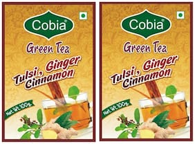 Cobia Green Tea (Tulsi, Cinnamon, Ginger) 100 g Pack OF 2