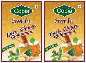Cobia Green Tea (Tulsi, Cinnamon, Ginger) 100 g Pack OF 2