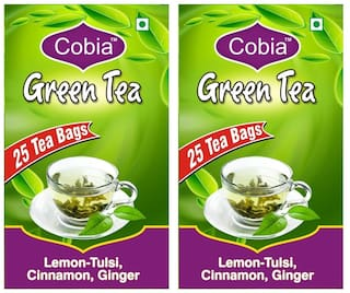 Cobia Green Tea(Lemon-Tulsi,Cinnamon, Ginger) 25 Tea bags each Pack Of 2