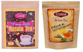 Cobia Green Tea (Mint + Lemongrass) 100g Tea Leaves & Cobia T-20 Masala Tea 100 g (Pack of 2)
