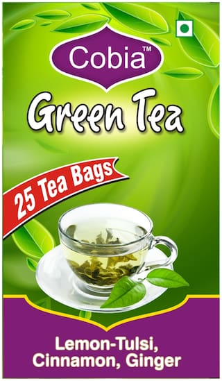 Cobia Green Tea(Lemon-Tulsi,Cinnamon, Ginger) 25 Tea bags each Pack Of 4