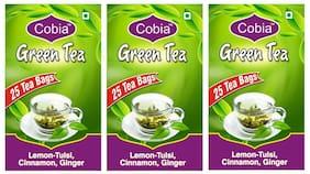 Cobia Green Tea(Lemon-Tulsi,Cinnamon, Ginger) 25 Tea bags each Pack Of 3