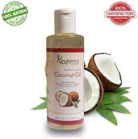 Kazima Coconut Carrier Oil 200 Ml (Extra Virgin)  100% Pure Natural & Undiluted Oil -  Pure Natural Cold Pressed Oil  Aromatherapy - Ideal For Hair Loss Treatment  Hair Growth  Skin