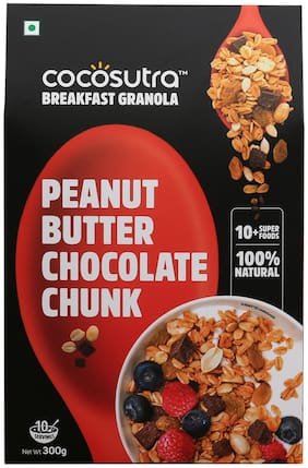 COCOSUTRA Granola - Peanut Butter Chocolate Chunk/Breakfast Cereal with Oats/Nuts/Seeds and Dry Fruits (300g)