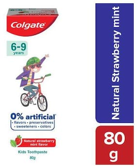 Colgate Kid's Toothpaste - 6-9 Years, Natural Strawberry Mint Flavour, 0% Artificial 80 g