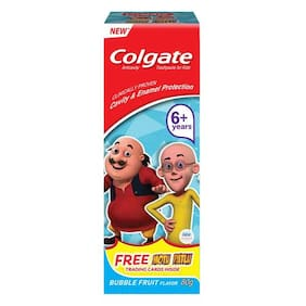 Colgate Kids Anticavity Motu Patlu Toothpaste - 6+ years, Bubble Fruit Flavour 80 g + Free Trading Cards Inside