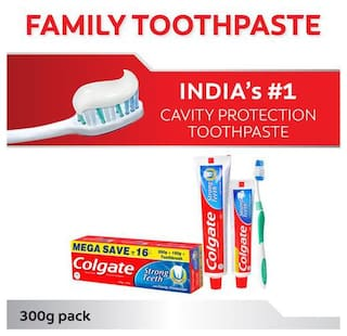 Colgate Toothpaste Strong Teeth  Dental Cream  Anti Cavity 300 Gm