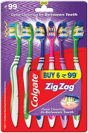 Colgate Toothbrush Zigzag Pack of 6 (Medium)