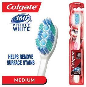 Colgate Toothbrush Medium 360 Visible Whitening Cups  Polishing Bristles 1 Pc
