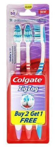 Colgate ZigZag Medium Bristle Toothbrush, 3 pcs Buy 2 Get 1 Free