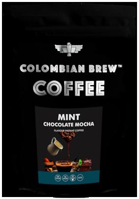 Colombian Brew Coffee Mint Chocolate Mocha Instant Coffee No Sugar Vegan 100g
