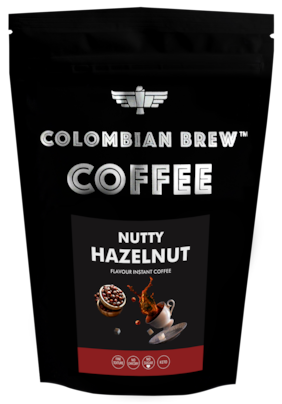 Colombian Brew Coffee Hazelnut Instant Coffee No Sugar Vegan 100g