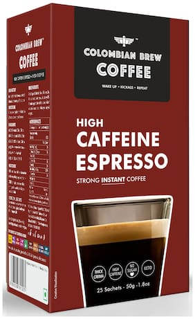 Colombian Brew Coffee High Caffeine Espresso Instant Coffee Strong 50g