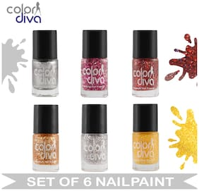 Color Diva (CD-NPCMB6-6521) - Maybe - Multicolor Nail Paint (Set of 6) - 6 ml Each