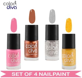 Color Diva - Maybe - Multicolor Nail Paint - CD4-NPCMB-1777 - Set of 4  - 6 ml Each