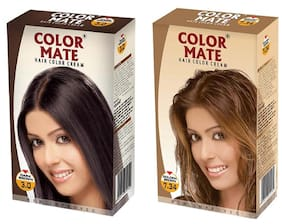 Color Mate Hair Color Cream Golden Brown + Burgundy