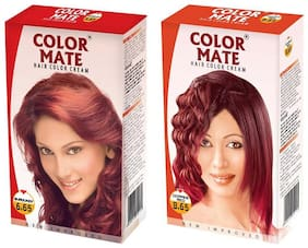 Color Mate Hair Color Cream Burgundy + Copper Red