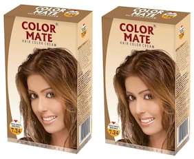 Color Mate Hair Color Cream - Golden Brown 130 ml (Pack of 2)