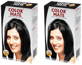 Color Mate Hair Color Cream - Natural Black 130 ml (Pack of 2)