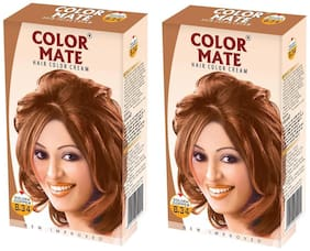 Color Mate Hair Color Cream Golden Copper 130 ml (Pack of 2)