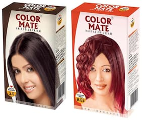 Color Mate Hair Color Cream Dark Brown + Copper Red