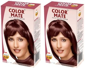 Color Mate Hair Color Cream Mahogany 130 ml (Pack of 2)