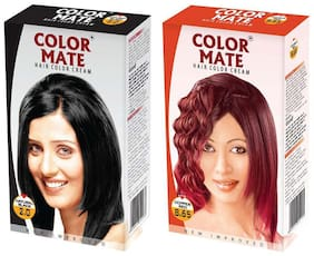Color Mate Hair Color Cream Natural Black + Copper Red