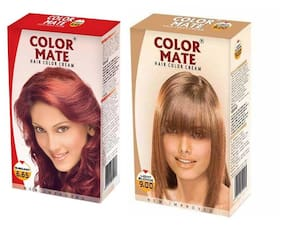 Color Mate Hair Color Cream Burgundy + Light Blonde