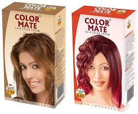 Color Mate Hair Color Cream Golden Brown + Copper Red