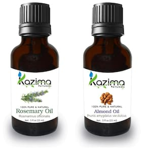 Kazima Combo Of Rosemary Oil And Almond Oil For Hair Growth  Skin Care (Each 15 Ml )- 100% Pure Natural Oil