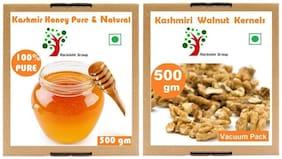 Rockishii Combo Organic Walnut Kernels 500 G & Honey Pure & Natural 500 G