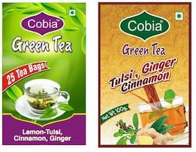 Combo Pack of Cobia Green Tea (Lemon-Tulsi ,Cinnamon, Ginger 25 Tea Bags) & Cobia Green Tea (Tulsi, Cinnamon ,Ginger 100g  leaves )