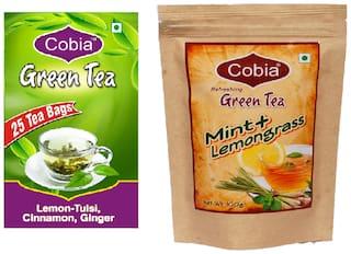 Combo Pack of Cobia Green Tea (Lemon-Tulsi ,Cinnamon, Ginger 25 Tea Bags) & Cobia Green Tea (Mint + Lemongrass 100g  leaves )