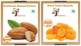 Rockishii Combo Turkish Dried Apricots 400 G & Premium California Almonds 500 Gms