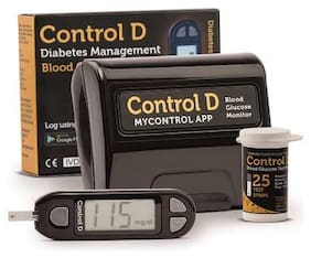 Control D Blood sugar Glucose monitoring system machine with 25 Test Strips (Black)