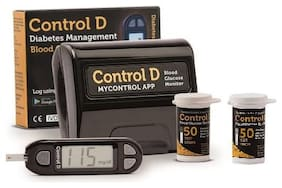 Control D Blood sugar Glucose monitoring system machine with 100 Test Strips (Black)