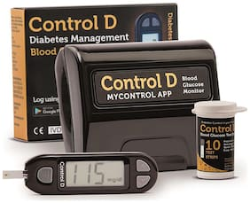 Control D Glucometer with 10 Strips & Lancets/Sugar Machine/Sugar Test Machine/Glucose/Gluco meter