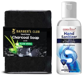 Coronation Neem & Aloevera Sanitizer 60 ml (70% Alcohol FDA Approved), Barber's Club Charcoal Soap 100 g Aloevera (Disinfectant Hand Soap) (Pack of 2)