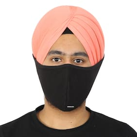 BISMAADH Cotton Hosiery Turban Friendly Pagri Mask with Velcro Adjustable Tie Strap