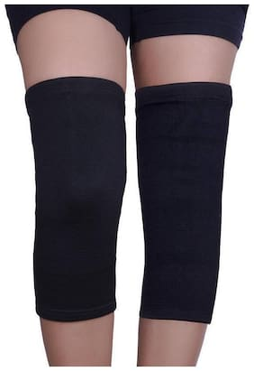 Cotton Knee Support  Knee Cap  Knee Brace  Knee Gourd 1 Pair (Black)